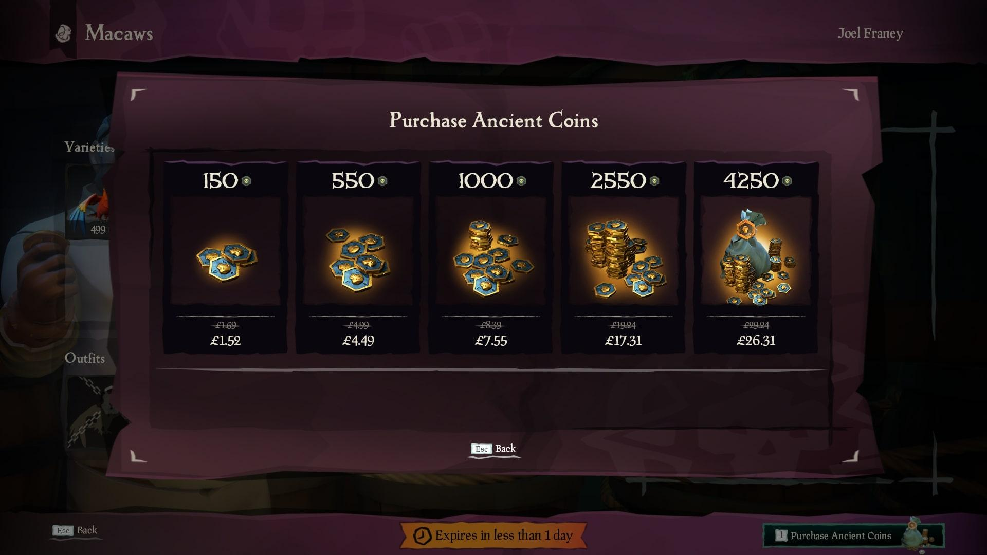sea of thieves ancient coins buy